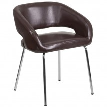 Flash Furniture CH-162731-BN-GG Fusion Series Contemporary Brown Leather Side Reception Chair