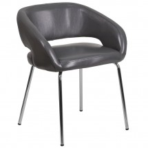 Flash Furniture CH-162731-GY-GG Fusion Series Contemporary Gray Leather Side Reception Chair