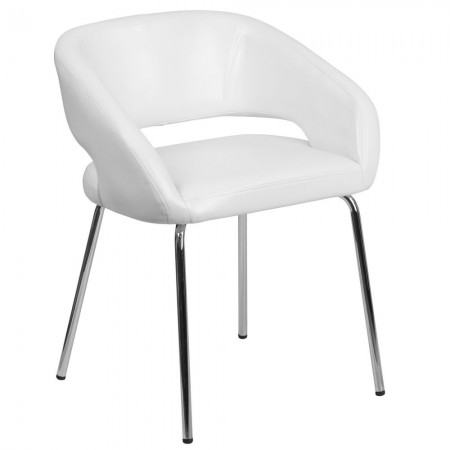 Flash Furniture CH-162731-WH-GG Fusion Series Contemporary White Leather Side Reception Chair