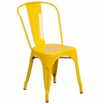 Flash Furniture CH-31230-YL-GG Yellow Metal Indoor-Outdoor Stackable Chair