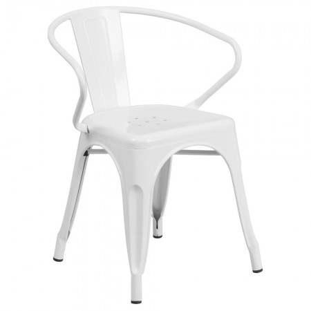 Flash Furniture CH-31270-WH-GG White Metal Indoor-Outdoor Chair with Arms