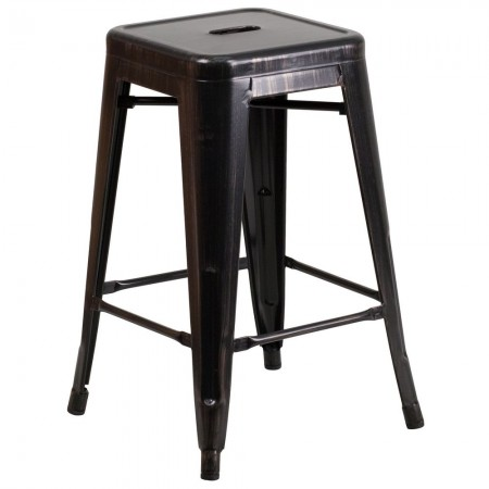 """Flash Furniture CH-31320-24-BQ-GG Backless Black-Antique Gold Metal Indoor-Outdoor Counter Height Stool with Square Seat 24"""""""
