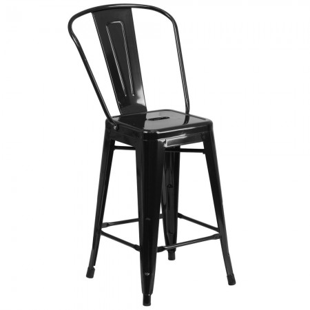 """Flash Furniture CH-31320-24GB-BK-GG Black Metal Indoor-Outdoor Counter Height Stool with Square Seat and Back 24"""""""