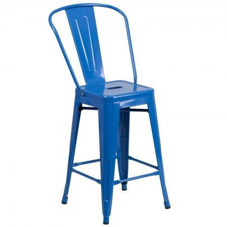 """Flash Furniture CH-31320-24GB-BL-GG Blue Metal Indoor-Outdoor Counter Height Stool with Square Seat and Back 24"""""""