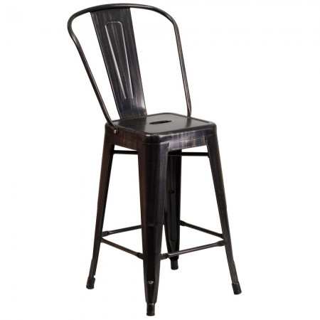"""Flash Furniture CH-31320-24GB-BQ-GG Black-Antique Gold Metal Indoor-Outdoor Counter Height Stool with Square Seat and Back 24"""""""