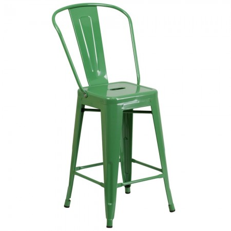 """Flash Furniture CH-31320-24GB-GN-GG Green Metal Indoor-Outdoor Counter Height Stool with Square Seat and Back 24"""""""