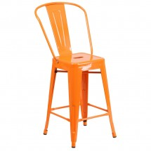 """Flash Furniture CH-31320-24GB-OR-GG Orange Metal Indoor-Outdoor Counter Height Stool with Square Seat and Back 24"""""""