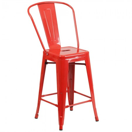 """Flash Furniture CH-31320-24GB-RED-GG Red Metal Indoor-Outdoor Counter Height Stool with Square Seat and Back 24"""""""