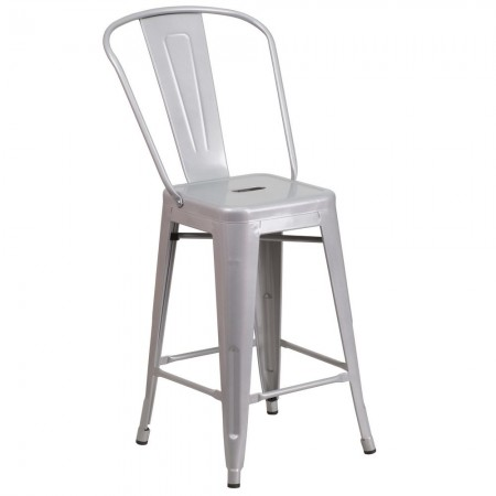 """Flash Furniture CH-31320-24GB-SIL-GG Silver Metal Indoor-Outdoor Counter Height Stool with Square Seat and Back 24"""""""