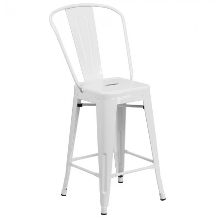 """Flash Furniture CH-31320-24GB-WH-GG White Metal Indoor-Outdoor Counter Height Stool with Square Seat and Back 24"""""""