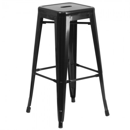 """Flash Furniture CH-31320-30-BK-GG Backless Black Metal Indoor-Outdoor Barstool with Square Seat 30"""""""