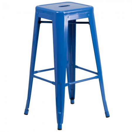 """Flash Furniture CH-31320-30-BL-GG Backless Blue Metal Indoor-Outdoor Barstool with Square Seat 30"""""""