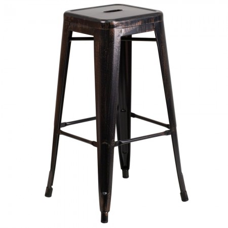 """Flash Furniture CH-31320-30-BQ-GG Backless Black-Antique Gold Metal Indoor-Outdoor Barstool with Square Seat 30"""""""