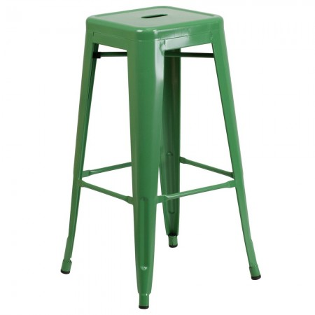 """Flash Furniture CH-31320-30-GN-GG Backless Green Metal Indoor-Outdoor Barstool with Square Seat 30"""""""