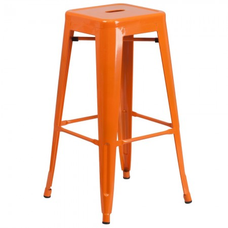 """Flash Furniture CH-31320-30-OR-GG Backless Orange Metal Indoor-Outdoor Barstool with Square Seat 30"""""""