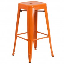Flash Furniture CH-31320-30-OR-GG Backless Orange Metal Indoor-Outdoor Barstool with Square Seat 30