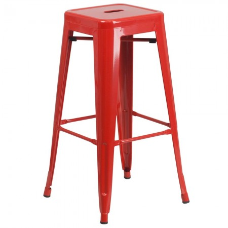"""Flash Furniture CH-31320-30-RED-GG Backless Red Metal Indoor-Outdoor Barstool with Square Seat 30"""""""