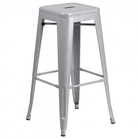 """Flash Furniture CH-31320-30-SIL-GG Backless Silver Metal Indoor-Outdoor Barstool with Square Seat 30"""""""