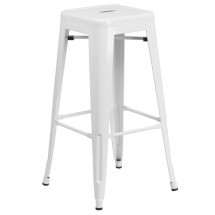 """Flash Furniture CH-31320-30-WH-GG Backless White Metal Indoor-Outdoor Barstool with Square Seat 30"""""""