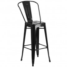 Flash Furniture CH-31320-30GB-BK-GG Black Metal Indoor-Outdoor Counter Height Stool with Square Seat and Back 30