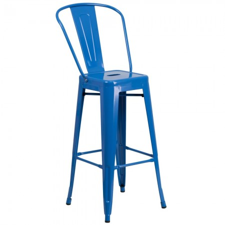 """Flash Furniture CH-31320-30GB-BL-GG Blue Metal Indoor-Outdoor Counter Height Stool with Square Seat and Back 30"""""""