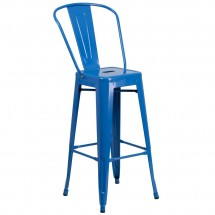Flash Furniture CH-31320-30GB-BL-GG Blue Metal Indoor-Outdoor Counter Height Stool with Square Seat and Back 30