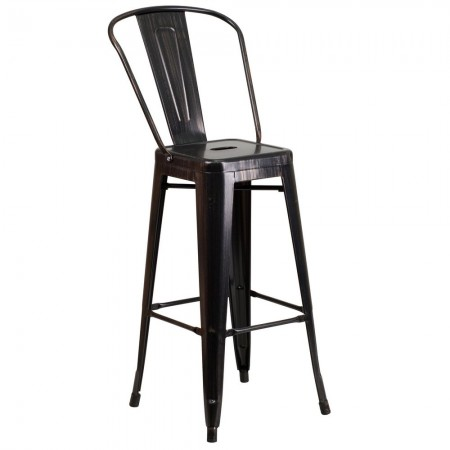 """Flash Furniture CH-31320-30GB-BQ-GG Black-Antique Gold Metal Indoor-Outdoor Counter Height Stool with Square Seat and Back 30"""""""