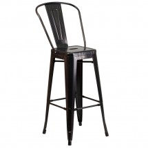 Flash Furniture CH-31320-30GB-BQ-GG Black-Antique Gold Metal Indoor-Outdoor Counter Height Stool with Square Seat and Back 30