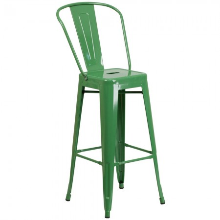 """Flash Furniture CH-31320-30GB-GN-GG Green Metal Indoor-Outdoor Counter Height Stool with Square Seat and Back 30"""""""
