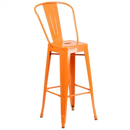 """Flash Furniture CH-31320-30GB-OR-GG Orange Metal Indoor-Outdoor Counter Height Stool with Square Seat and Back 30"""""""