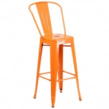 Flash Furniture CH-31320-30GB-OR-GG Orange Metal Indoor-Outdoor Counter Height Stool with Square Seat and Back 30