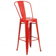 Flash Furniture CH-31320-30GB-RED-GG Red Metal Indoor-Outdoor Counter Height Stool with Square Seat and Back 30