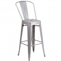 Flash Furniture CH-31320-30GB-SIL-GG Silver Metal Indoor-Outdoor Counter Height Stool with Square Seat and Back 30