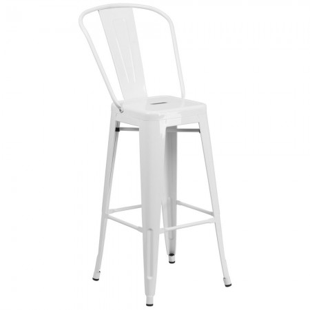 """Flash Furniture CH-31320-30GB-WH-GG White Metal Indoor-Outdoor Counter Height Stool with Square Seat and Back 30"""""""