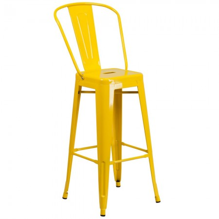 """Flash Furniture CH-31320-30GB-YL-GG Yellow Metal Indoor-Outdoor Counter Height Stool with Square Seat and Back 30"""""""