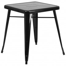 """Flash Furniture CH-31330-29-BK-GG Square Black Metal Indoor-Outdoor Table 23.75"""""""