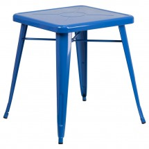 """Flash Furniture CH-31330-29-BL-GG Square Blue Metal Indoor-Outdoor Table 23.75"""""""