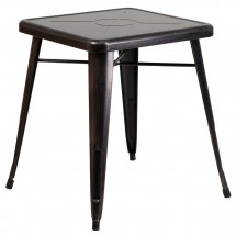"""Flash Furniture CH-31330-29-BQ-GG Square Black-Antique Gold Metal Indoor-Outdoor Table 23.75"""""""