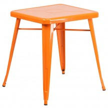 """Flash Furniture CH-31330-29-OR-GG Square Orange Metal Indoor-Outdoor Table 23.75"""""""