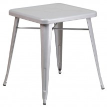 """Flash Furniture CH-31330-29-SIL-GG Square Silver Metal Indoor-Outdoor Table 23.75"""""""