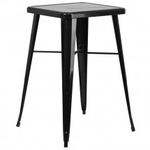 """Flash Furniture CH-31330-BK-GG Square Black Metal Indoor-Outdoor Bar Height Table 23.75"""""""