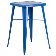 """Flash Furniture CH-31330-BL-GG Square Blue Metal Indoor-Outdoor Bar Height Table 23.75"""""""