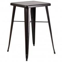 """Flash Furniture CH-31330-BQ-GG Square Black-Antique Gold Metal Indoor-Outdoor Bar Height Table 23.75"""""""