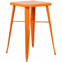 """Flash Furniture CH-31330-OR-GG Square Orange Metal Indoor-Outdoor Bar Height Table 23.75"""""""