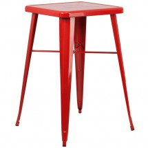 """Flash Furniture CH-31330-RED-GG Square Red Metal Indoor-Outdoor Bar Height Table 23.75"""""""
