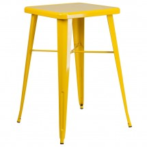 """Flash Furniture CH-31330-YL-GG Square Yellow Metal Indoor-Outdoor Bar Height Table 23.75"""""""