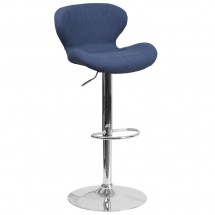 Flash Furniture CH-321-BLFAB-GG Contemporary Blue Fabric Adjustable Height Barstool with Curved Back and Chrome Base