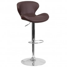 Flash Furniture CH-321-BRN-GG Contemporary Brown Vinyl Adjustable Height Barstool with Curved Back and Chrome Base