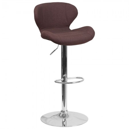 Flash Furniture CH-321-BRNFAB-GG Contemporary Brown Fabric Adjustable Height Barstool with Curved Back and Chrome Base