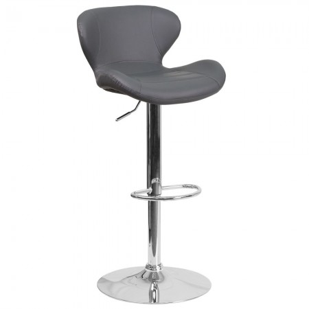 Flash Furniture CH-321-GY-GG Contemporary Gray Vinyl Adjustable Height Barstool with Curved Back and Chrome Base
